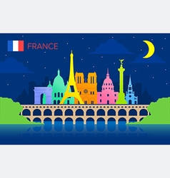 France travel landmarks vector