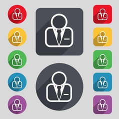 Avatar icon sign a set of 12 colored buttons and a vector