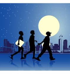 Urban teens night scene vector