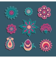 Colorful ornament elements set of flowers and bud vector
