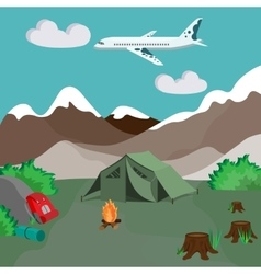 Camping by the mountains with campfire and tent vector