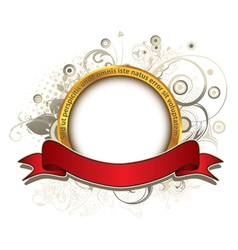 gold label with floral vector image