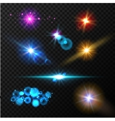 Realistic glow light effects lens flare set vector