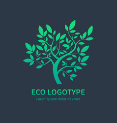 Ayurvedic spa design symbol green tree vector