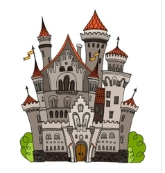 Cartoon fairy tale castle tower icon cute vector