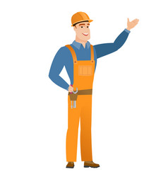 Caucasian builder showing a direction vector