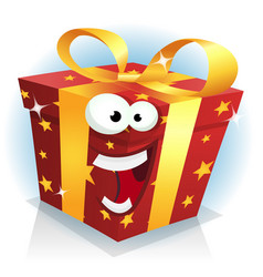 Christmas and birthday gift box character vector