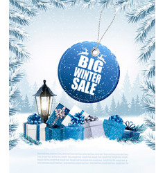 christmas presents with a sale sticker and a gift vector image vector image