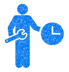 Clock serviceman grunge icon vector