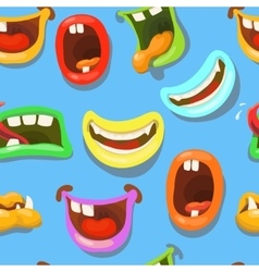 Cute monsters mouths seamless pattern vector