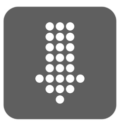 Dotted arrow down flat squared icon vector