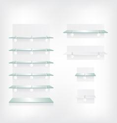 Empty shop glass shelves and wobbler vector
