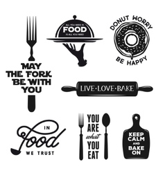 Food related typography set Quotes about cooking vector image vector image