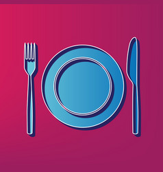 Fork knife and plate sign blue 3d vector