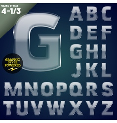 Glass font powered graphic styles vector