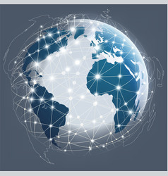 globe digital connection digital communications vector image