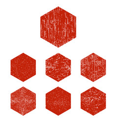 grunge hexagon red hexagons stamp isolated on vector image