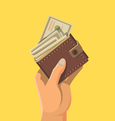 hand and wallet full of money vector image