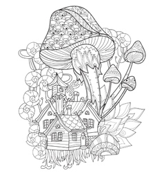 Hand drawn doodle outline magic mushrooms vector