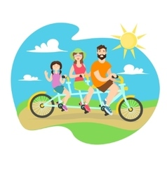 Happy family tandem bike vector