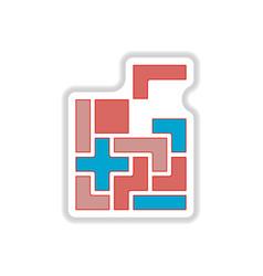 In paper sticker style tetris vector