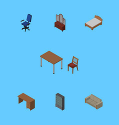 Isometric furnishing set of chair table vector