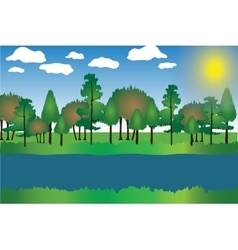 Landscape cartoon with trees vector