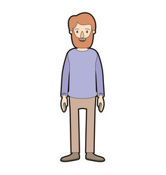 Light color caricature thick contour full body man vector