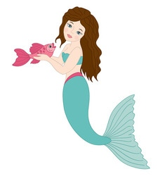 Mermaid with fish vector