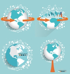 Modern globe and city with application icon modern vector