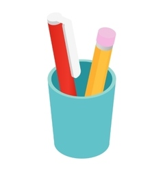 Pen pencil in cup isometric 3d vector image