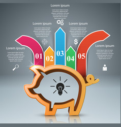 Pig coin bussines infographic marketing icon vector