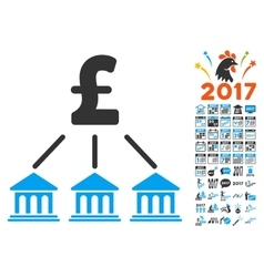 Pound Bank Organization Icon With 2017 Year Bonus vector image vector image