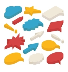 Set of isometric speech bubbles and arrows vector image