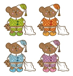 Sleepy bear in pajamas with a pillow and soft toy vector image