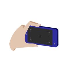 Taking photo on smartphone symbol flat isometric vector
