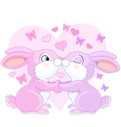 Valentine rabbits vector image vector image