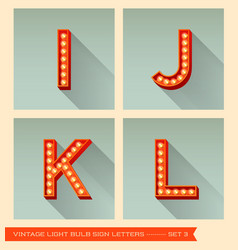Vintage light bulb sign letters i j k l vector