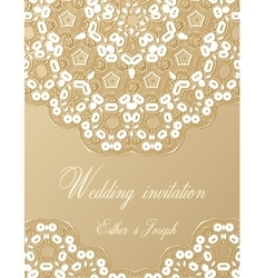 Wedding invitation decorated with white lace vector