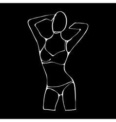 Beautiful black and white nude woman silhouette vector image