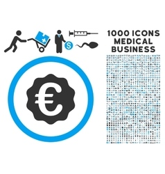 Euro Reward Seal Icon with 1000 Medical Business vector image