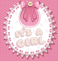 Its a girl baby shower on pink bib vector