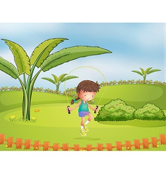 A girl playing jumping rope in the park vector