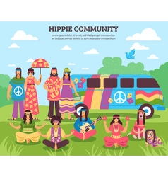 Hippie Community Outdoor Composition vector image