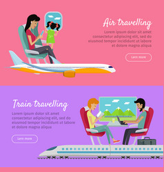 Air traveling and train traveling banners vector
