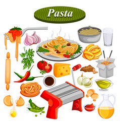 Food and spice ingredient for pasta vector