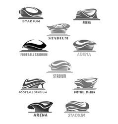 Football arena or sport stadium icons set vector