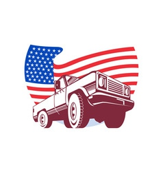 American pickup truck with flag stars and stripes vector