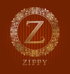 golden logo template for zippy boutique monogram vector image
