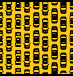 Black taxi traffic seamless pattern on yellow vector